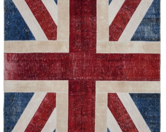 7X10 BRITISH FLAG RUGS,Turkish patchwork, Home Decor,Handmade Patchwork,Carpet Rug,Original Carpet , Exclusive Rug,Vintage Patchwork