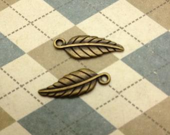50 pcs Antique Bronze Leaf Charms 7mmx19mm