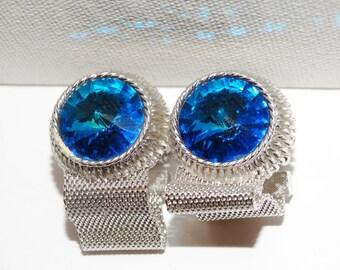 Vintage Blue 1960's Cufflinks.