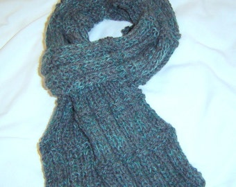 0078 Quick Mens Rib Scarf,Mens Pattern,Gray Steel Knit Scarf by CarussDesignZ