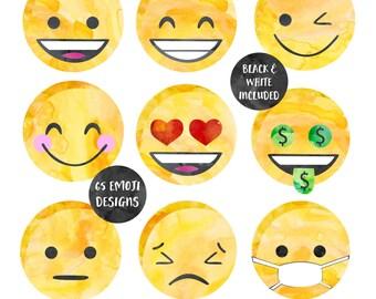 Watercolor Emoji Face Collection Commercial Use Clip Art Emoticon Clipart