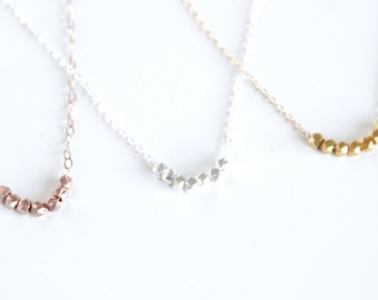 Nugget Necklace / Solid Silver and Vermeil Nuggets / Dainty Rose Gold Nugget Necklace / Sterling Silver Nuggets Necklace / Rose Gold Beads