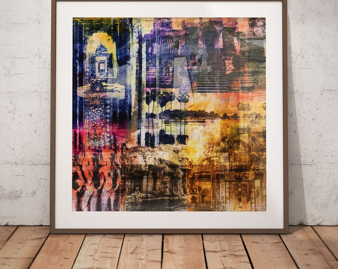 Cambodia Mixed Media XV by Sven Pfrommer - Artwork is ready to hang with a solid wooden frame