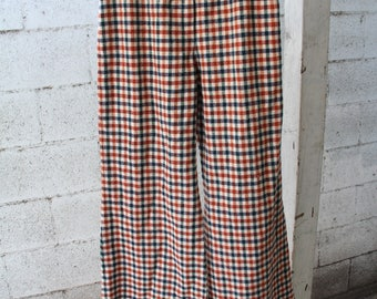 Vintage 70s Bell Pants / Wide leg / Plaid