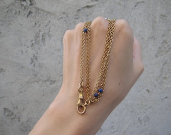 Extra Long Antique 14k Yellow Gold Lapis Lazuli Bead Station Watch Chain Necklace