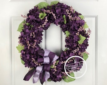 Hydrangea Wreath, Wreath, Wreath Street Floral, Purple Wreath, Everyday Wreath, Spring Wreath, Summer Wreath, Door Wreath