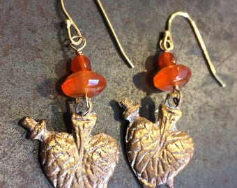 Sacred Heart Milagro Earrings with Carnelian and Gold Vermeil