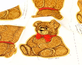 VINTAGE: 1980's - 15 Bear Fabric Cut Outs - Stuffed Bears - VIP Screen Print - Cranston Print Works Co - SKU 16-C1-00011641
