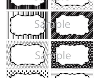 Black and White RandomLabels - Candy Buffet- Black and White Tags, Black and White Gift Tags- INSTANTLY DOWNLOADABLE- Edit at Home NOW!