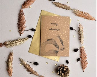 Pack of 4 Badger Christmas Card with gold stars, printed with soy inks on recycled paper