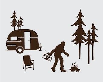 Happy Sasquatch Camper Laptop or Wall Vinyl Decal Kit