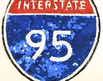"Interstate 95 Road Sign Appliqué, All Sequins, 9"" x 9"" -7867-B368"