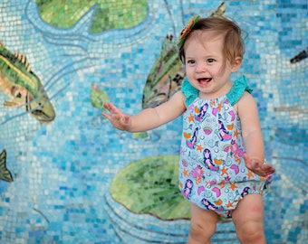 Mermaid Romper, Baby Girl Romper, Beach Romper, Summer Romper, Sunsuit, Baby Girl Gift, Bubble Romper, Aqua Romper, Flutter Sleeve