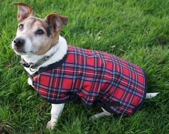 Waterproof dog coat, fleece lined -  Royal Stewart Tartan - all sizes available