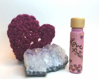 Tiny Love Potion Bottle with Bubble Hearts and Gold Lid, Handmade Hardwood Love Potion Valentine Gift by Simple Gifts Toyshop
