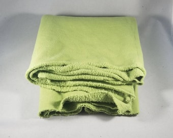3/8 yard Avocado Green Remnant of Hand Dyed Organic Cotton Sweatshirt Fleece Fabric  Made in the USA