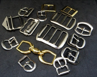 15x Small & Medium Metal Buckles... Silvertone Goldtone Metals... For Repurpose