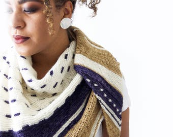 "Hand Knit Shawl . Super Soft . Hand Made . Sandstone . White . Purple . modern shawl ""structural integrity"""