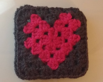 Crochet Heart Coaster Pattern