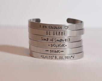Cuff Bracelets Personalized Custom Name Stackable Bracelets Inspirational Coordinates