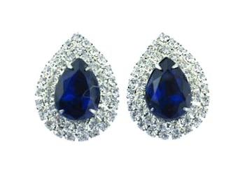 Huge Blue Rhinestone Earrings, Blue Rhinestone Cluster Earrings, Blue Teardrop Earrings, Austrian Crystal Rhinestone Earrings