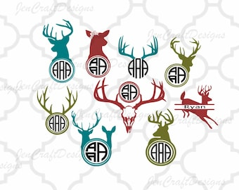 Deer SVG Antler Monogram Frame, Deer Monogram, Cutting File Set in Svg, Dxf, Eps, Ai and PNG Format for Cricut and Silhouette