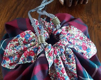 Outlandish Large Pouch Purse in MacGregor Tartan with Liberty Print Lining