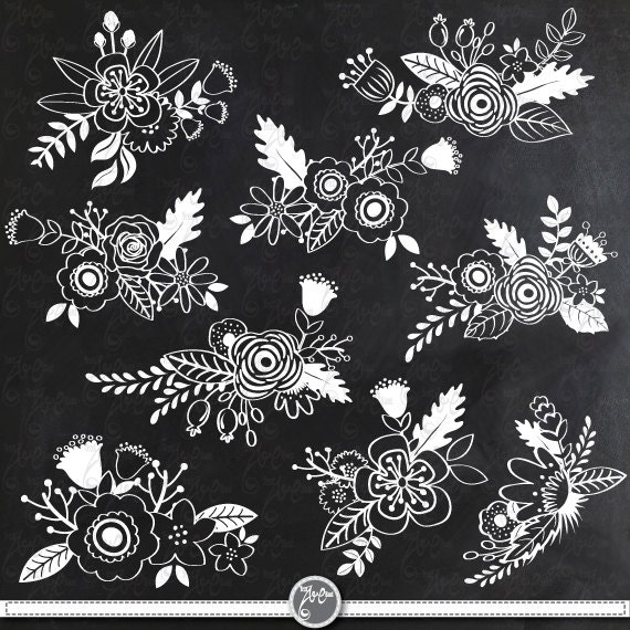 Home Design Ideas Blackboard: Chalkboard Wedding Clipart CHALKBOARD FLOWER Clip