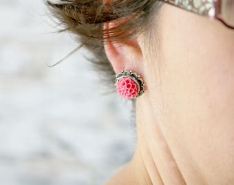 Dahlia Flower Studs - Bridesmaids Flower Earrings - Pink Flower Earrings - Best Friend Gift Ideas - Hypoallergenic Earrings