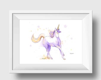 Unicorn Art Print Girls Room Decor Purple Unicorn Wall Art Unicorn Nursery Art Unicorn Painting Baby Girl Nursery Baby Shower Gift