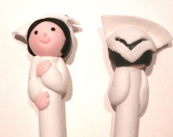 New Handmade Polymer Clay Fimo Pen Nurse with White Hat