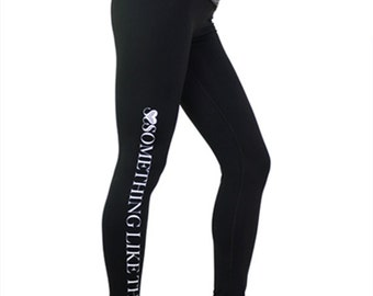 Black pink workout tights - soft black gym leggings - womens yoga leggings - high pink grey waistband - thick yoga leggings - gym pants