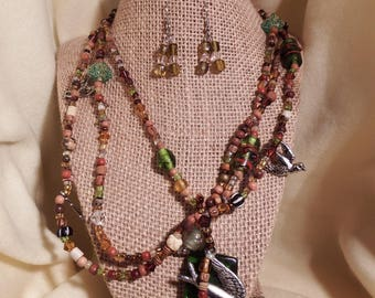 Multi strand Necklace with bird and bead accents