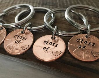 Gift for Graduates, high school graduation, graduation gift, class of 2018, keychain Engraved custom penny keychain, 8th grade class gifts