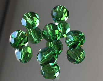 Swarovski Crystals - 8mm Faceted Round Beads - Fern Green - Packages of 6 & 12 (#730)