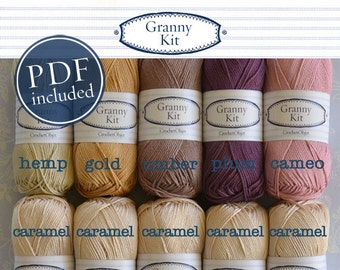 Cotton Yarn Heritage Victorian Palette with a PDF file,  10 balls, Granny Kit Yarn Ready to ship by CrochetObjet
