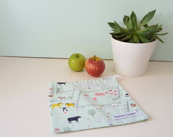 Farm Animals - Green - Small Drawstring Bag, Fresh Produce Bag, Project Bag, Toy Bag, Reusable, Ecofriendly, Handmade