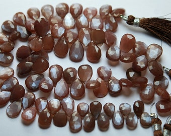 8 Inch Strand,Finest Quality Brown MOONSTONE Faceted Pear Shape Briolettes,9-12mm size