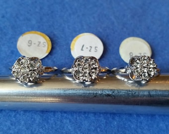 Vintage Vargas Faux Diamond Ring, 18KT HGE white gold plated ring, size 6 size 7 size 8 flower ring
