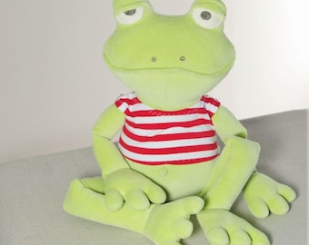 Stuffed Animal Frog / Green Frog Prince / Frog Home Decor / Plush Toy / Personalized Gift for Kids
