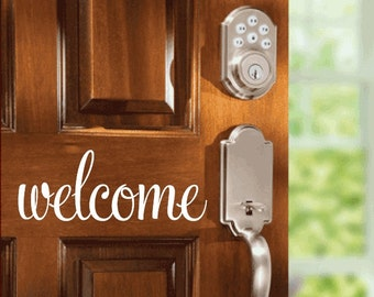 Vinyl Wall Quote Welcome  Wall Or Door Home Decor Wall Decal Vinyl Lettering