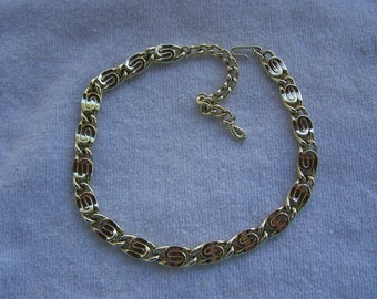 Sarah Coventry HTF Gold Twisted Swirl Wide Large Necklace