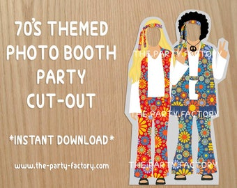 70's Themed Party Photo Booth Cutout Stand, Instant Download, Printables, PDF File, Digital File