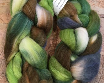 Hand-painted  BFL/Silk Top 4 oz. - Woodland