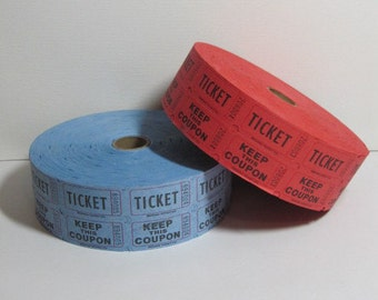 Carnival Double Roll Vintage Style Raffle Tickets: Set of Blue & Red 2000 tickets each