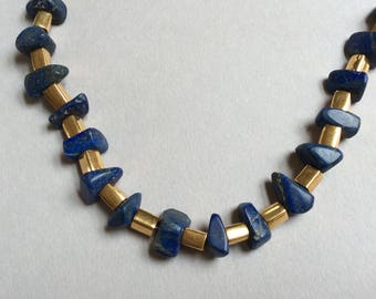 Long Lapis and Gold Necklace