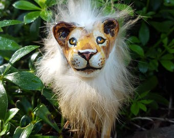 Peg doll Lion, wooden toy, collectable adult male lion, wild animal figure