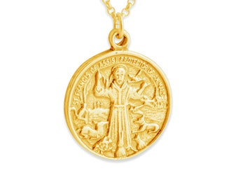 St francis of assisi etsy st francis of assisi pendant necklace 14k gold plated over 925 sterling silver azaggi n0250g aloadofball Gallery