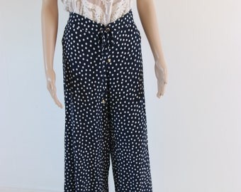 Hippy Vintage Blue Polka dot Flare Trousers