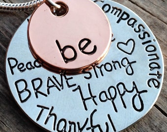 12 -  Be Happy Pendant, Imprinted Happy, Kind, Brave, Strong Charm. Thankful, Free, True, Pendant, Word Pendant, Sentimental FAST SHIPPING
